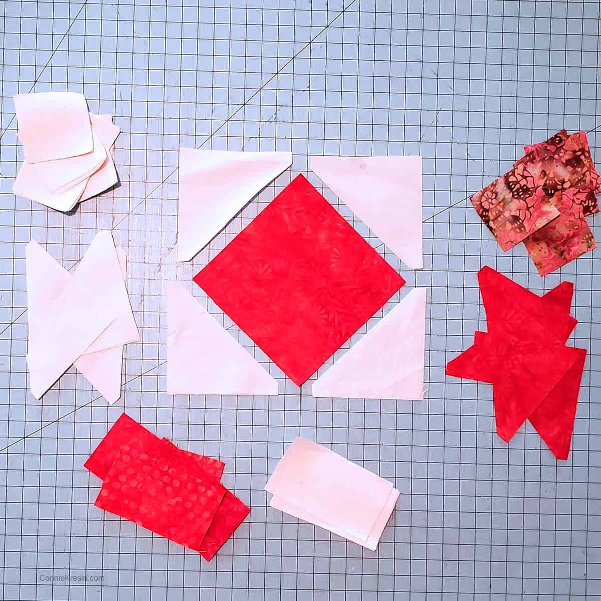 Coral Jewel table runner tutorial pieces for blocks