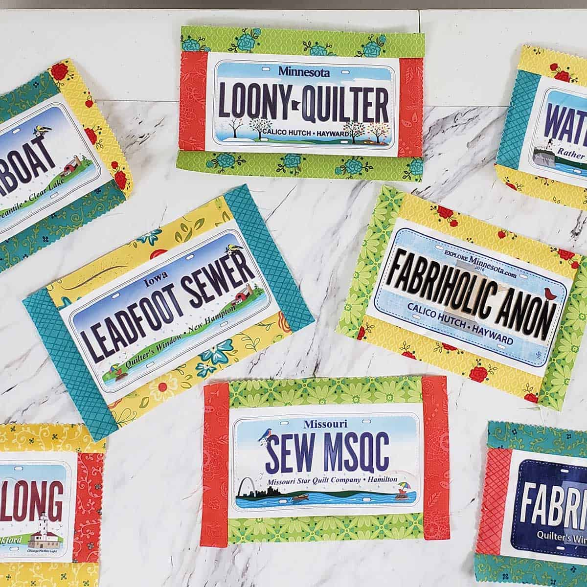 Row by Row Experience License Plate fabric