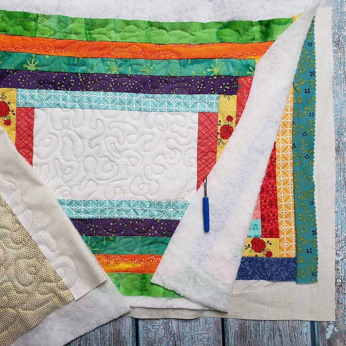 Quilting the placemats and making a mistake