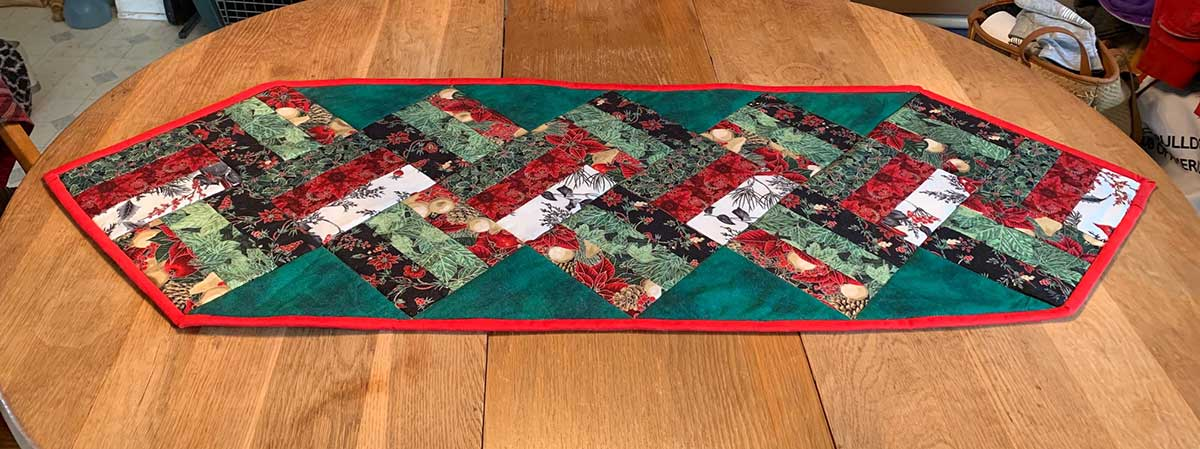 Christmas Rail Fence table runner
