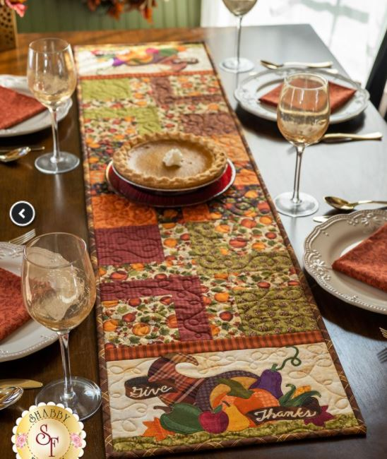 Easy Pieced table runner for Thanksgiving