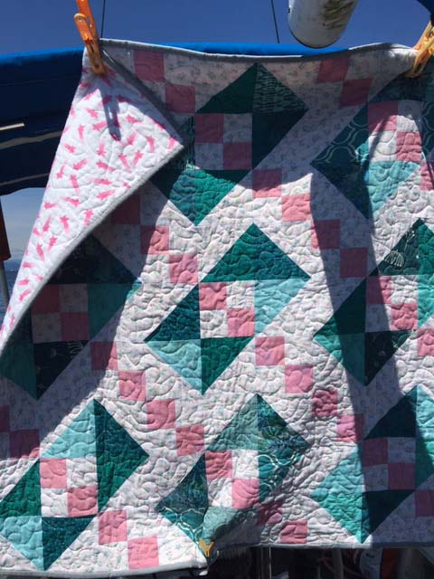 Quilt hangin on boat
