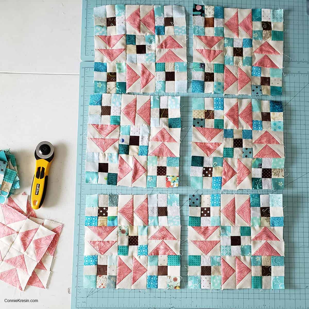 Flying geese and 9 patch blocks