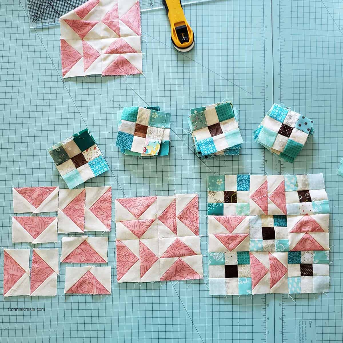 Flying Nines baby quilt blocks