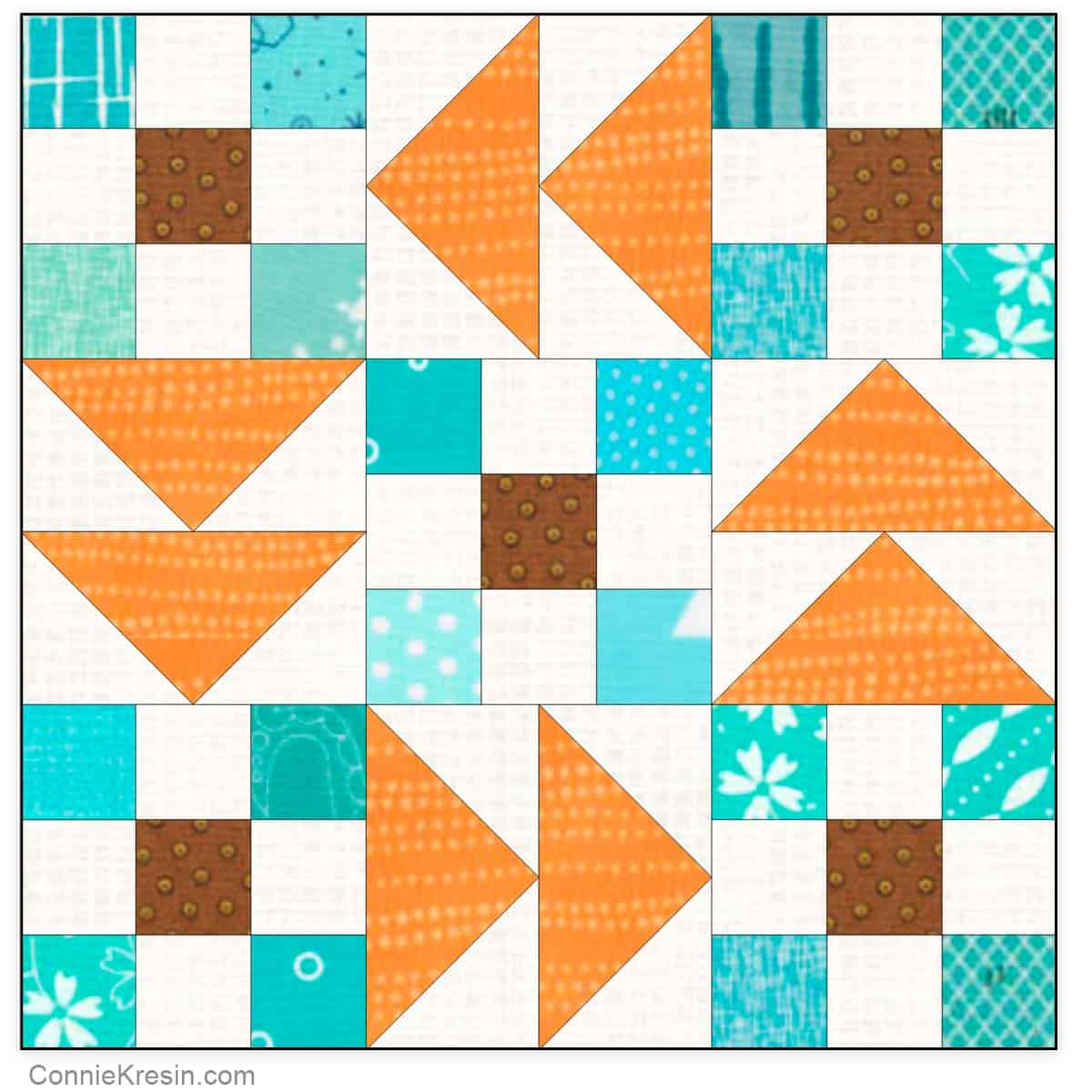 Flying Nines quilt block