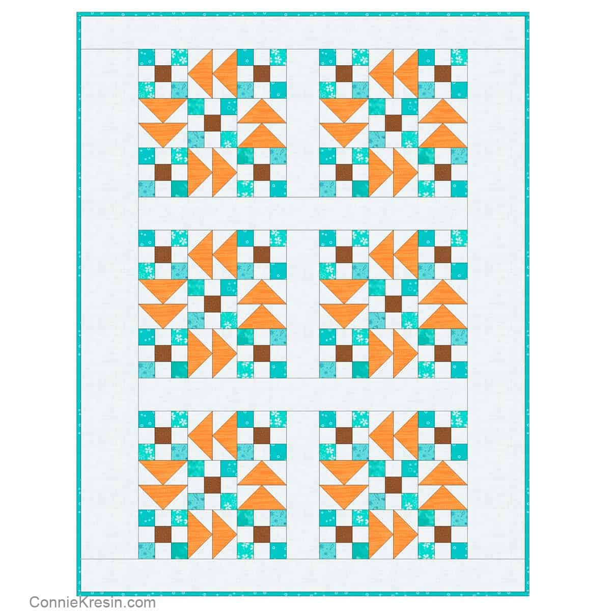 Flying Geese Nines baby quilt diagram