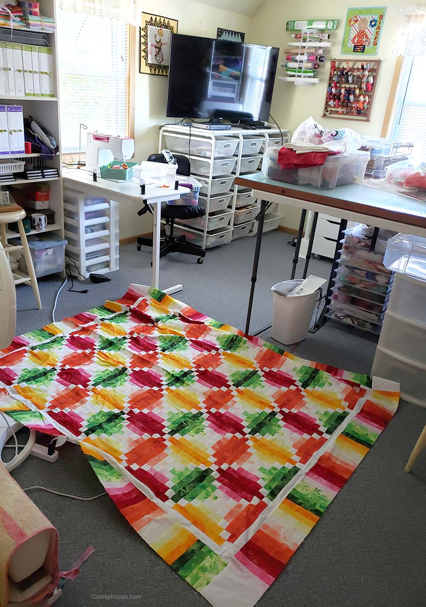 Working on the Fruit Slices quilt again