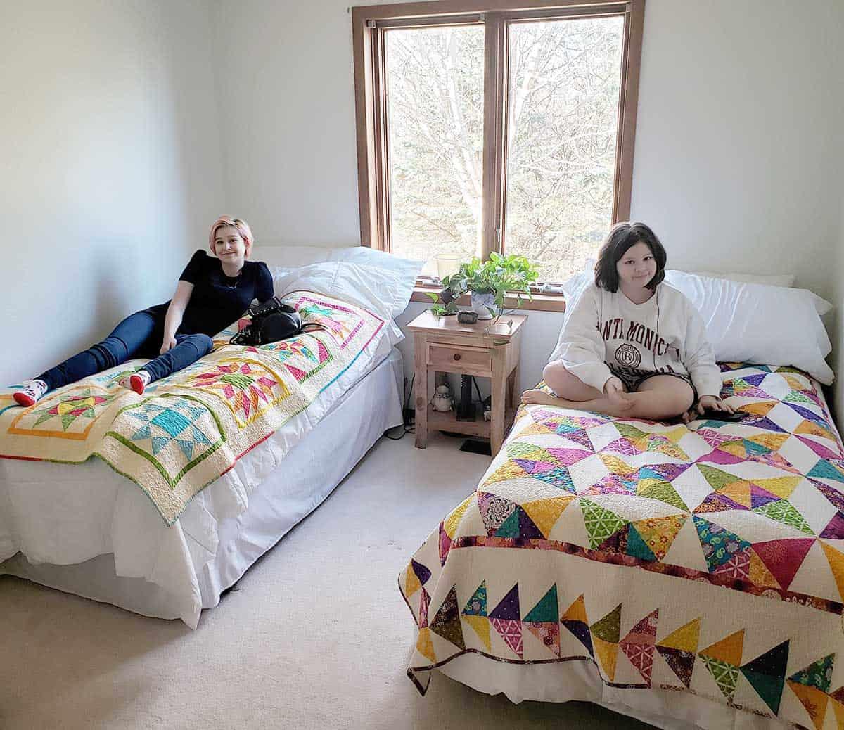 Granddaughters in their bedroom