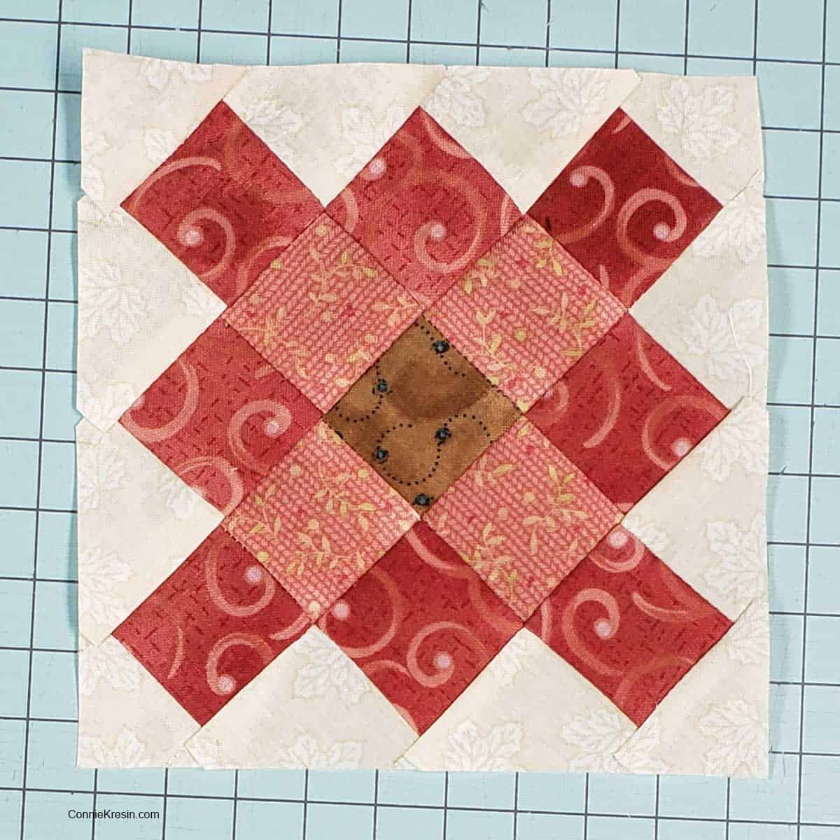 Completed granny square quilt block