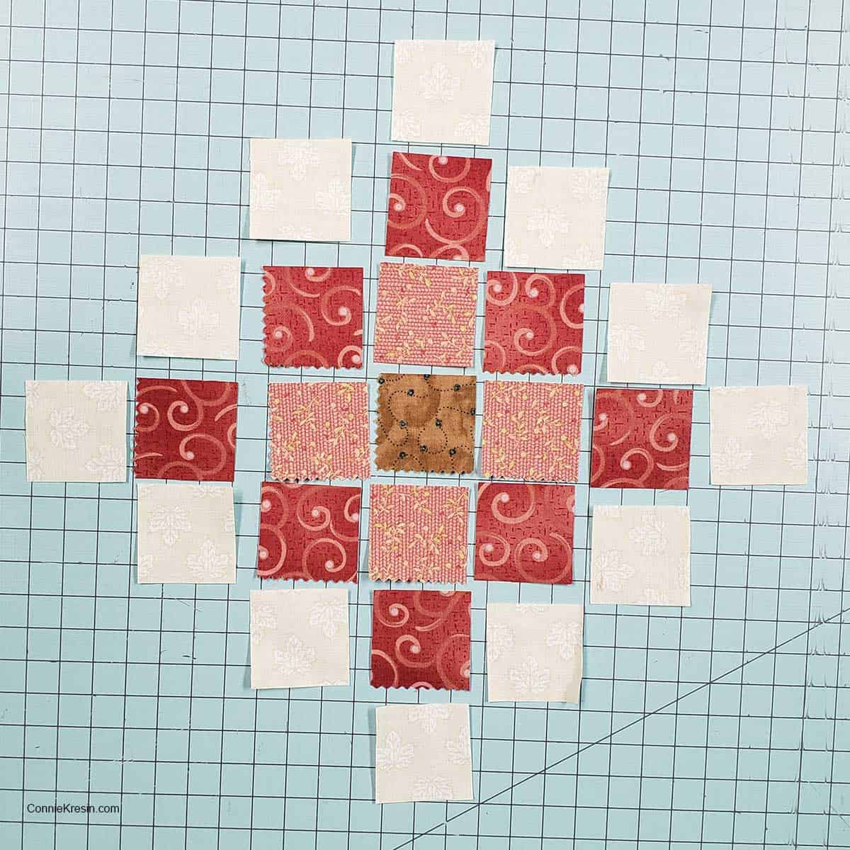 Layout the granny square blocks