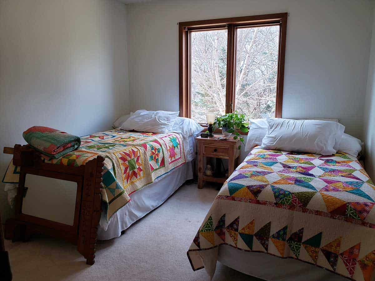 Bedroom for granddaughters with quilts