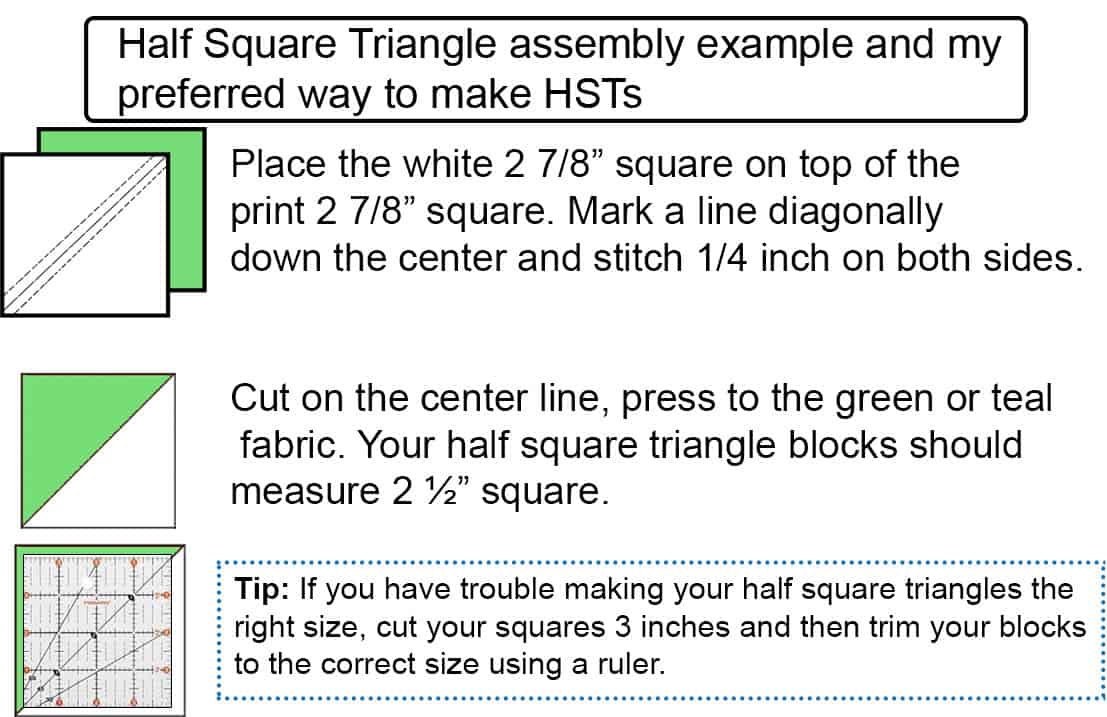 Make easy half square triangle blocks using these measurements