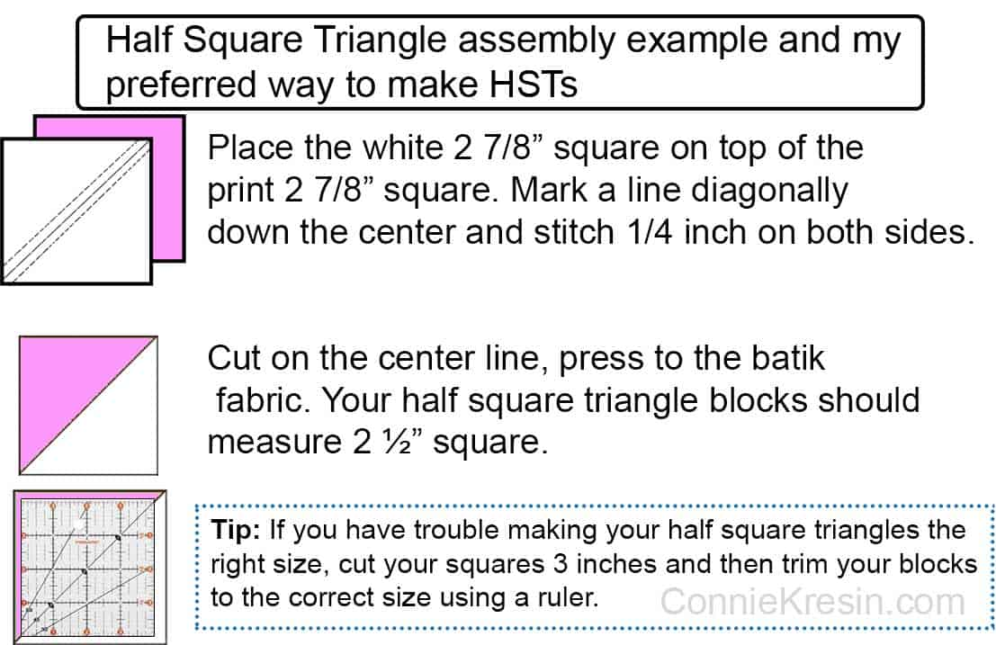 Easy way to cut half-square triangles