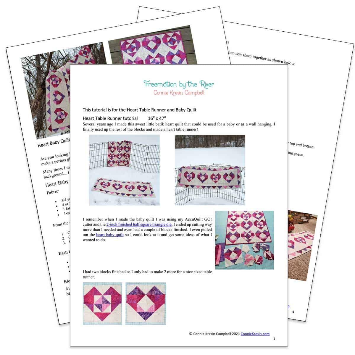 Heart quilt and table runner pdf