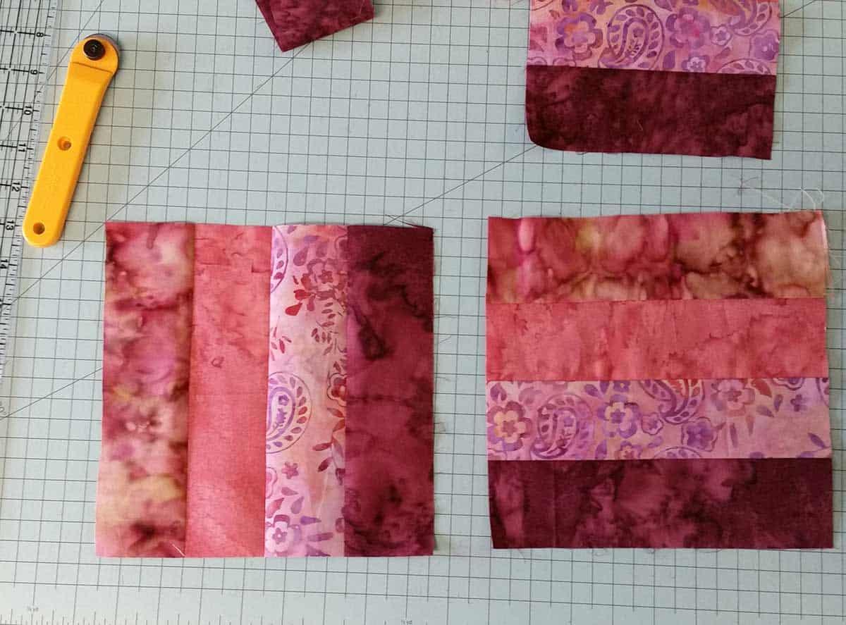 Hidden Wells batik quilt blocks 4 fabrics