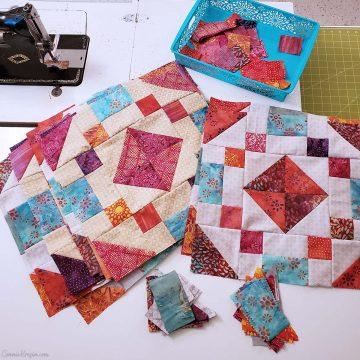 Working on quilt blocks