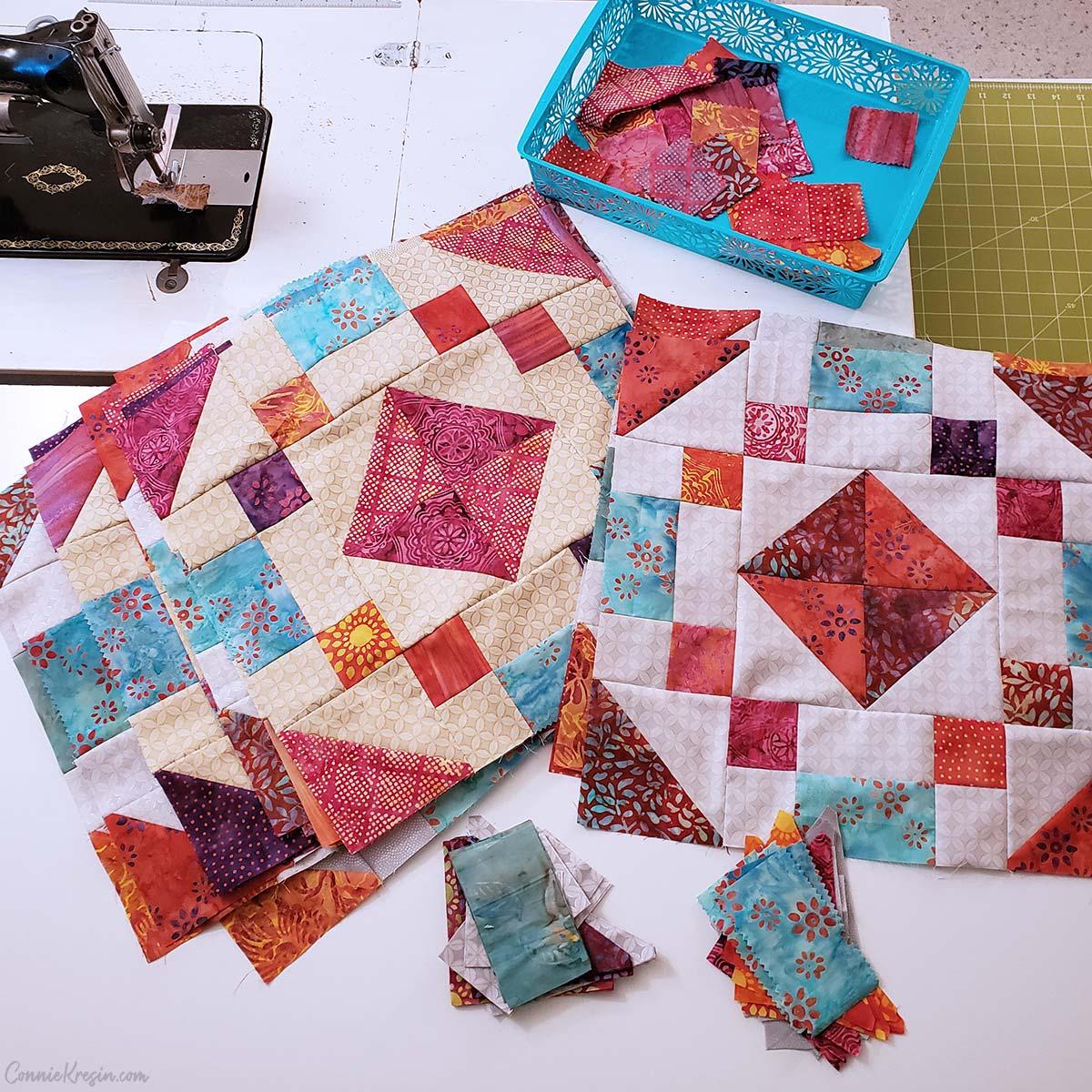 Working on batik quilt blocks