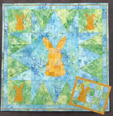 Patchwork Rabbit wall hanging and mug rug