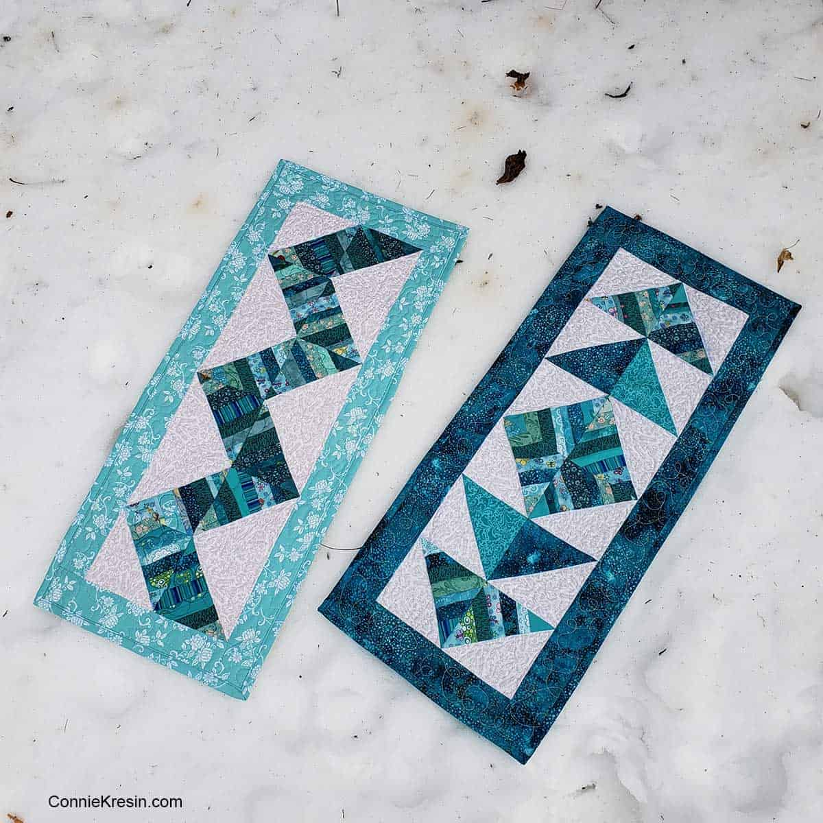 Smaller teal string table runners