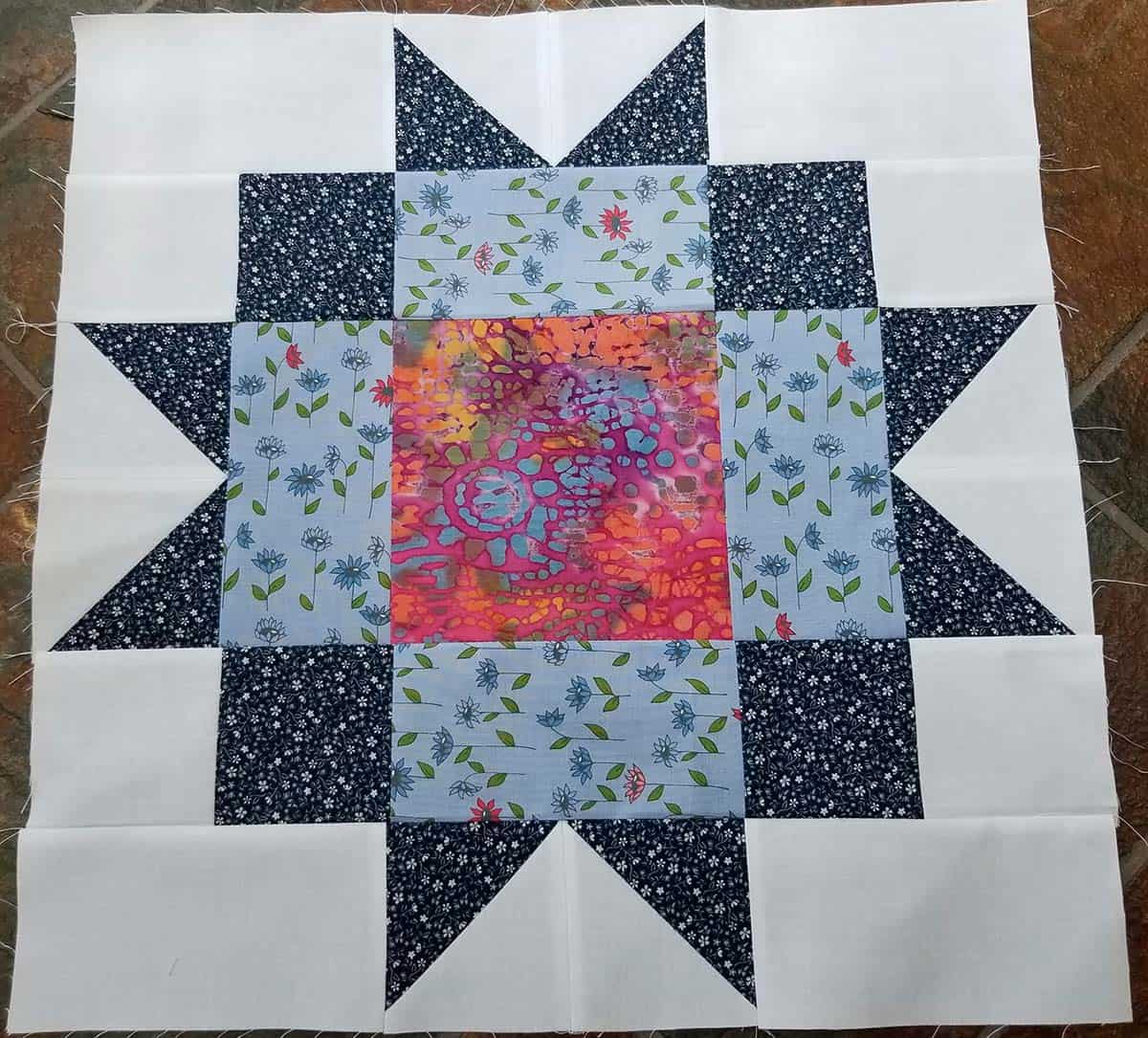 Maple Star quilt block made by Lucie