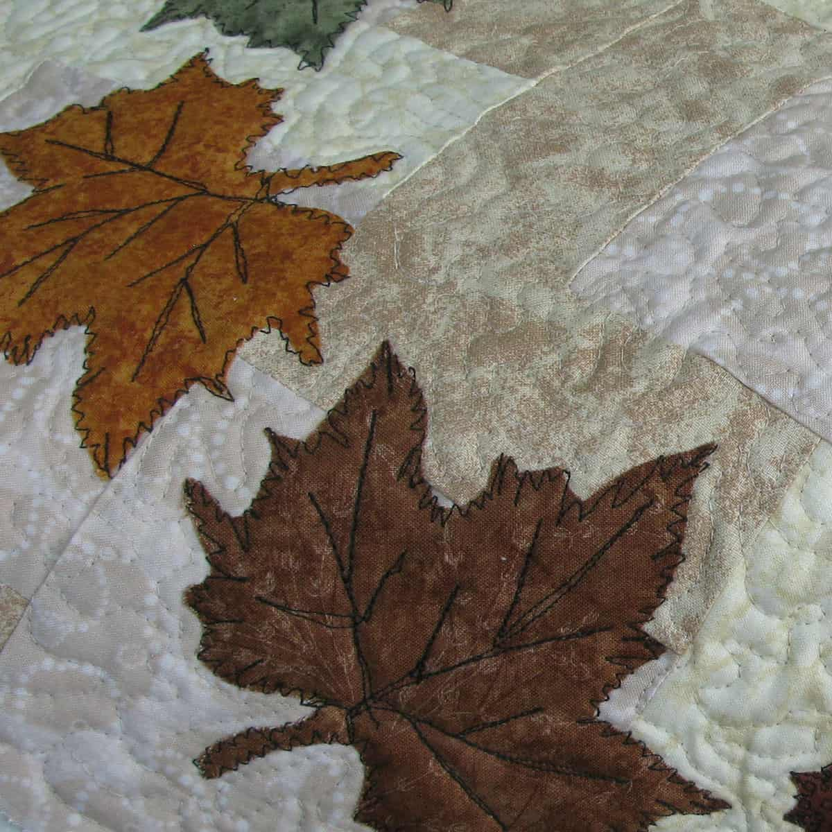 Closeup of the stitching on the leaves