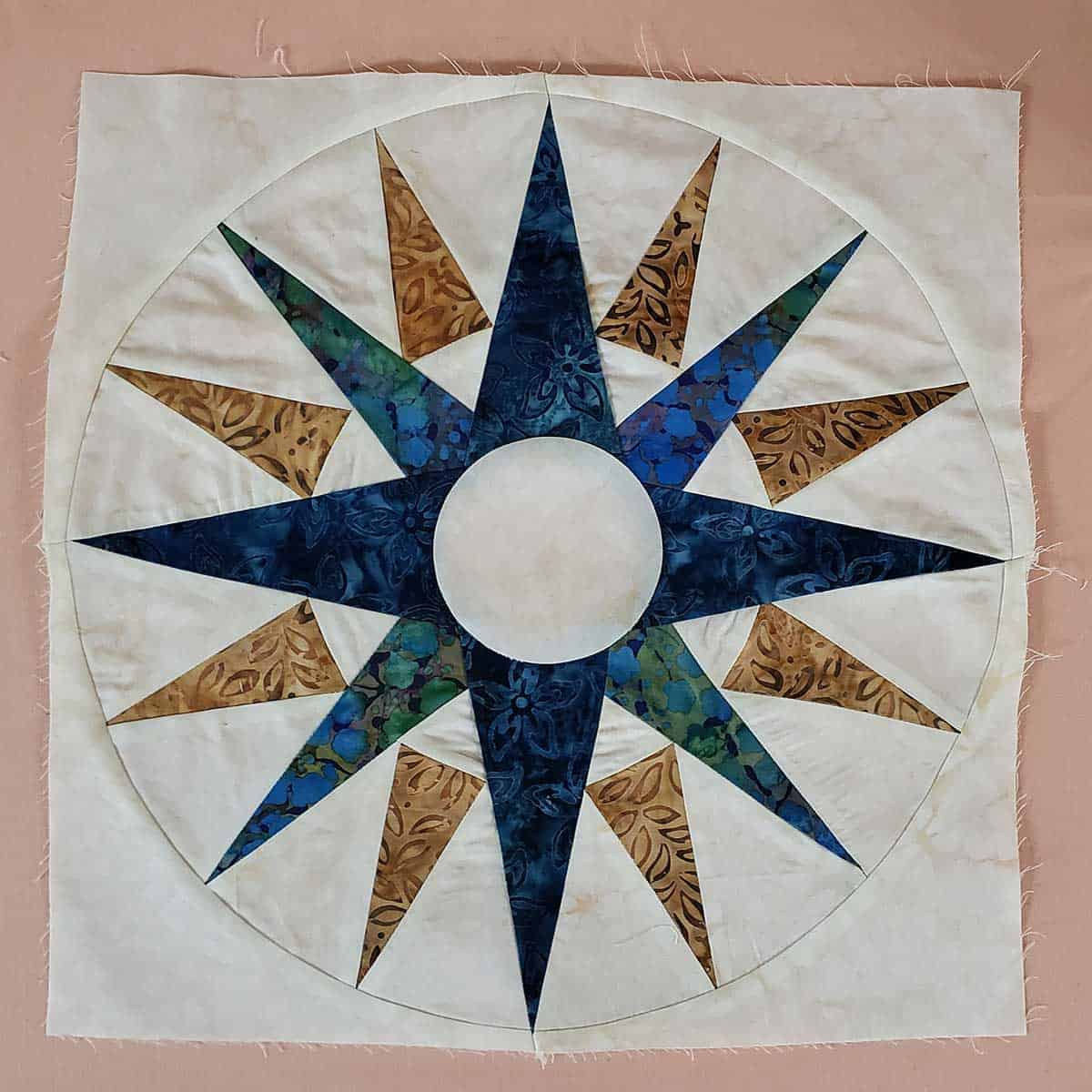 Completed piecing of the Mariner's Compass