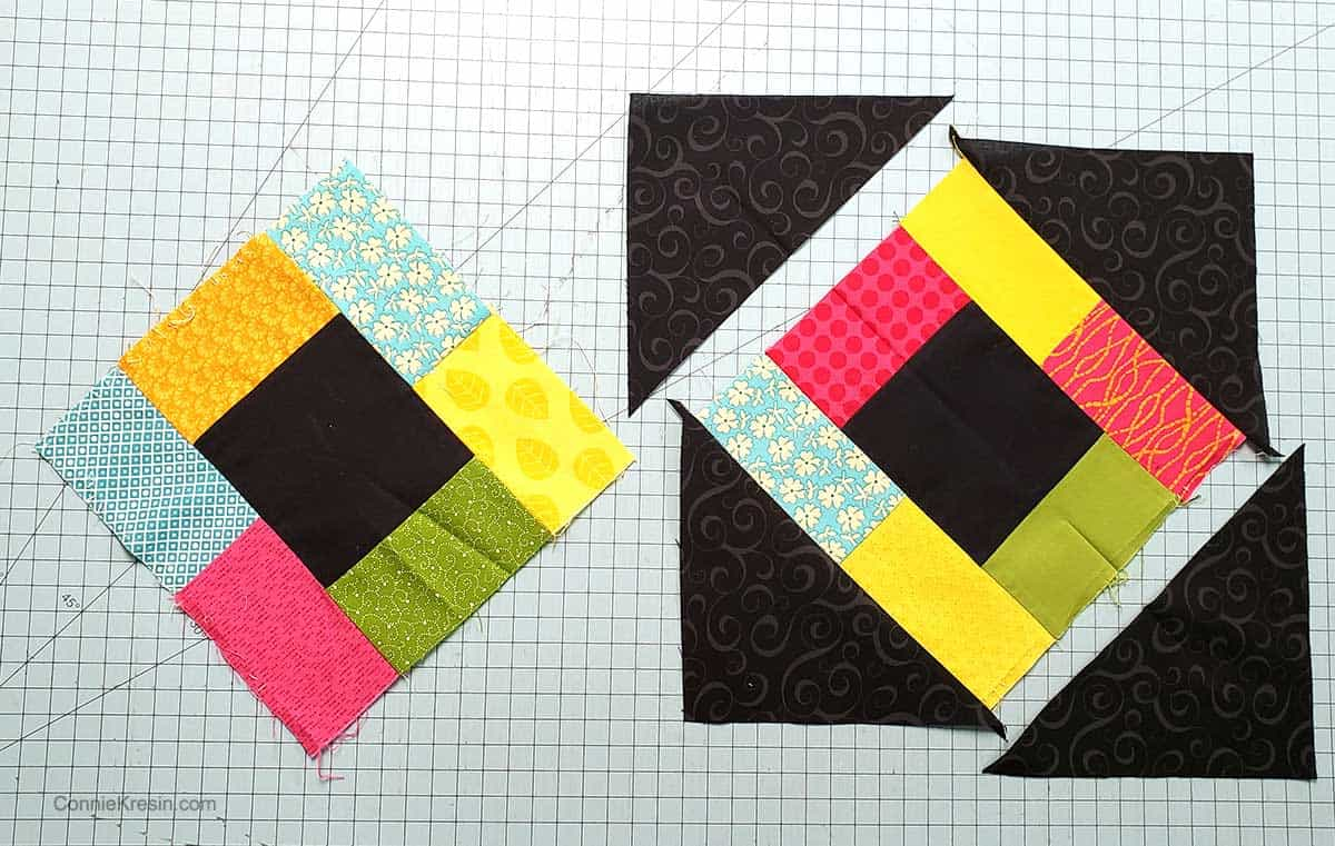 Adding the corner pieces to the quilt block