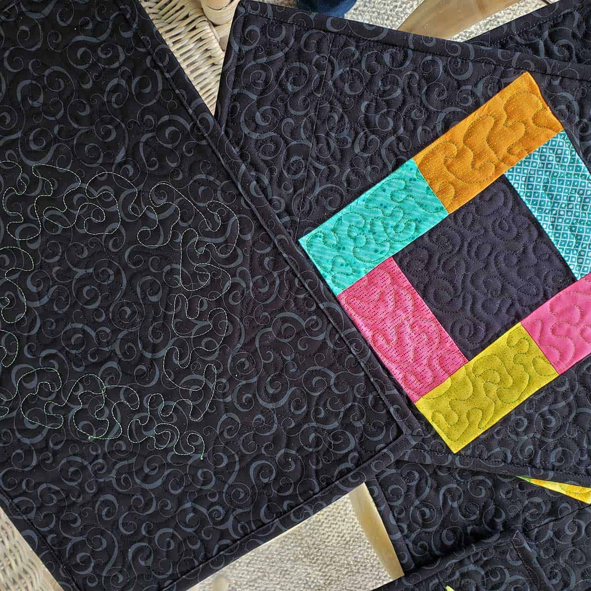 Showing the quilting on the Midnight Glow placemats