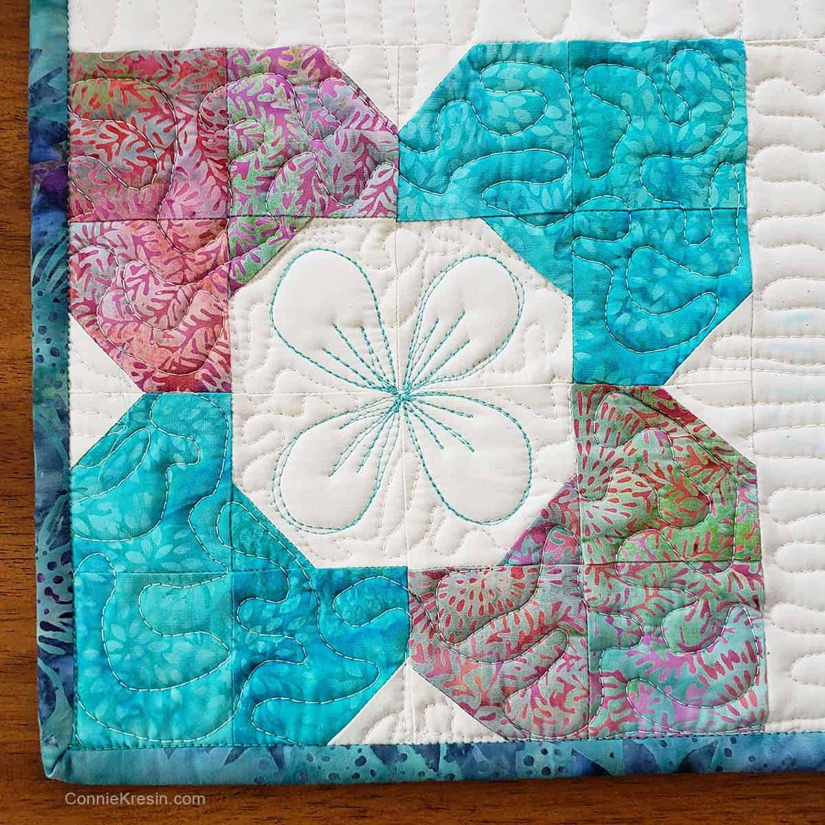 Closeup of quilting on the Morning Glory table topper