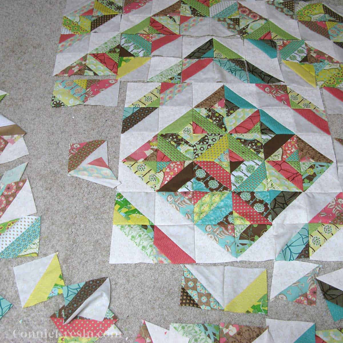 laying out the quilt blocks