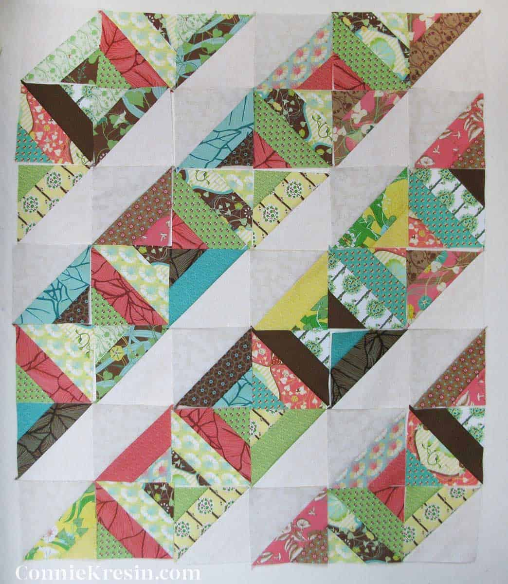 Neopolitan quilt blocks made with the strips of fabric