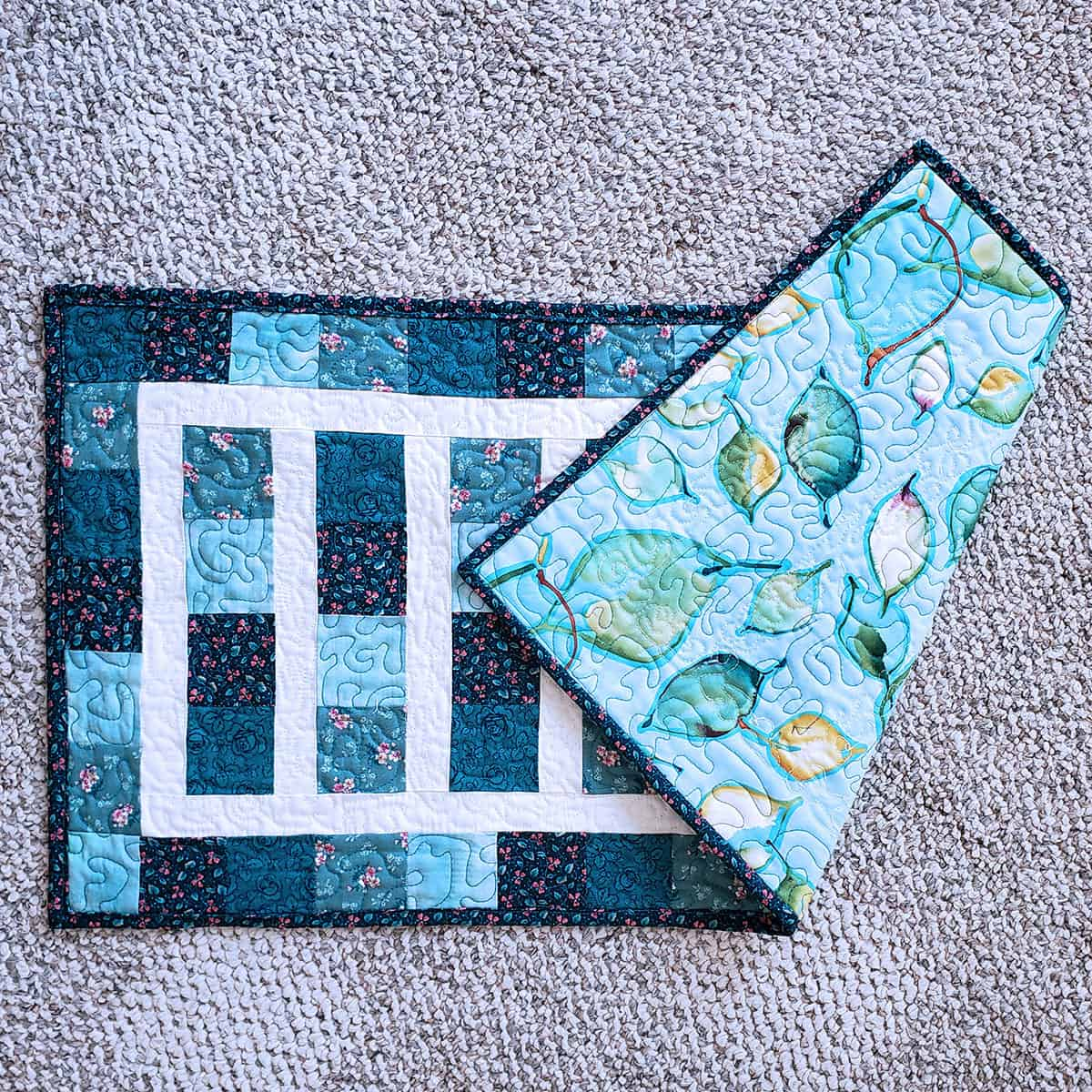 large quilt print used on the back of table runner
