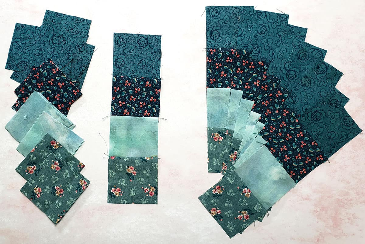 Fabrics used for quilted table runner