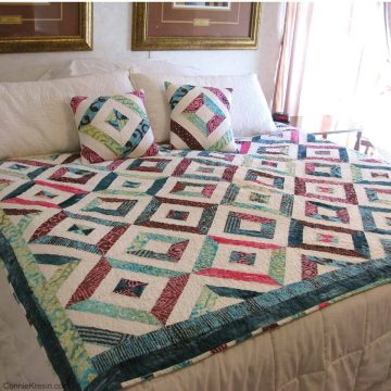 Petunia Strings quilt and pillows