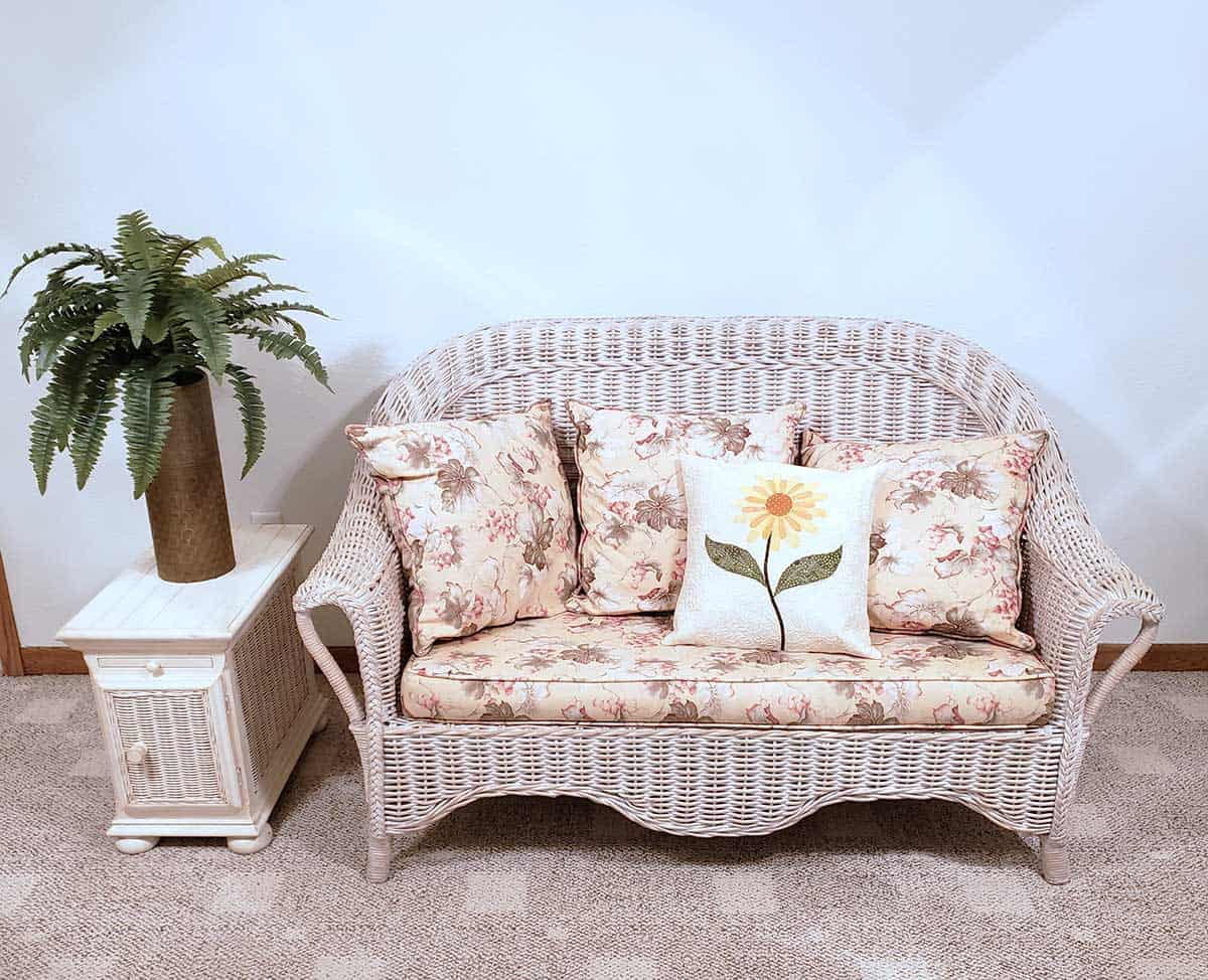 Wicker furniture and the pillow