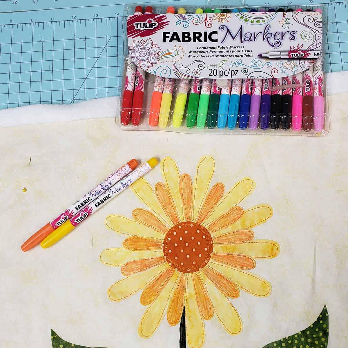 Coloring the daisy applique pieces