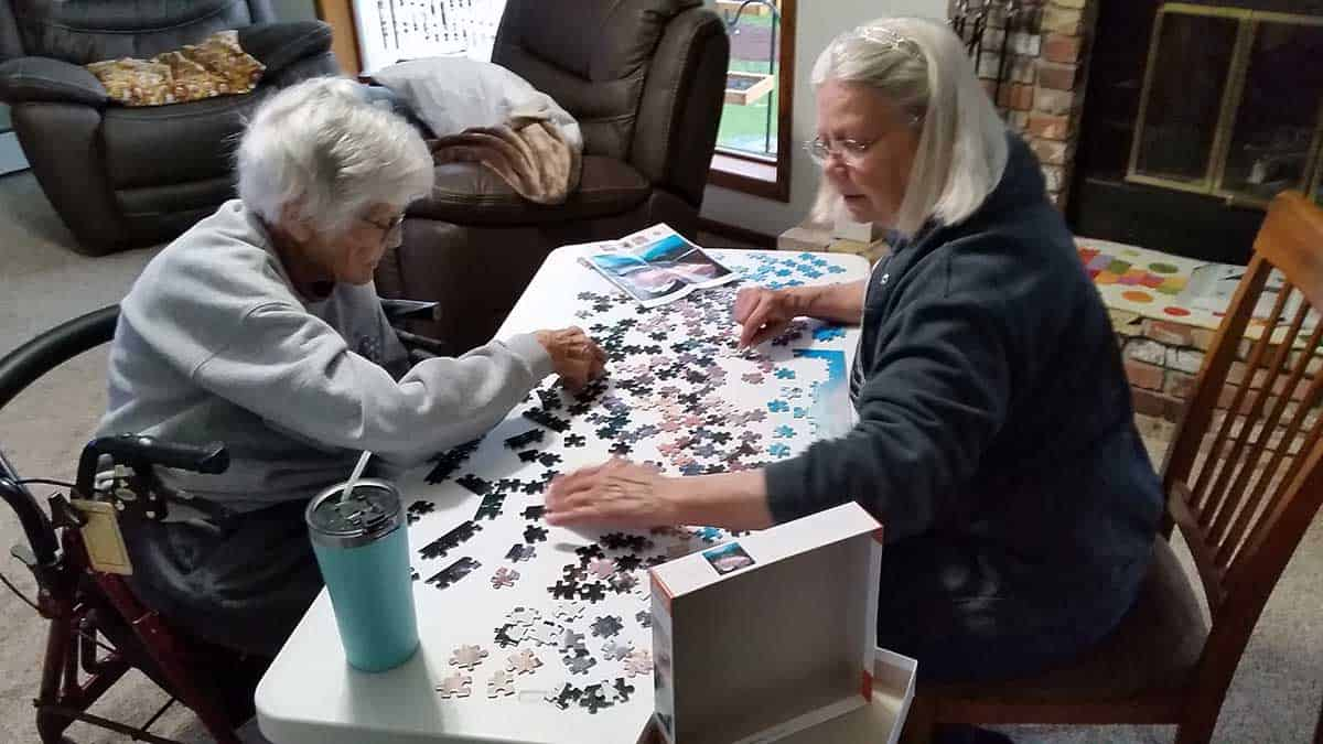 Working on a puzzle
