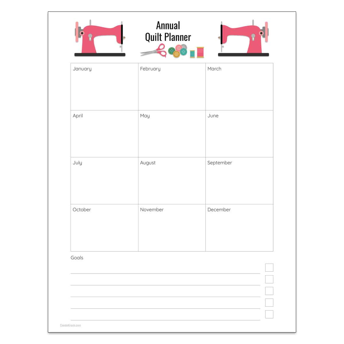 Annual quilt planner