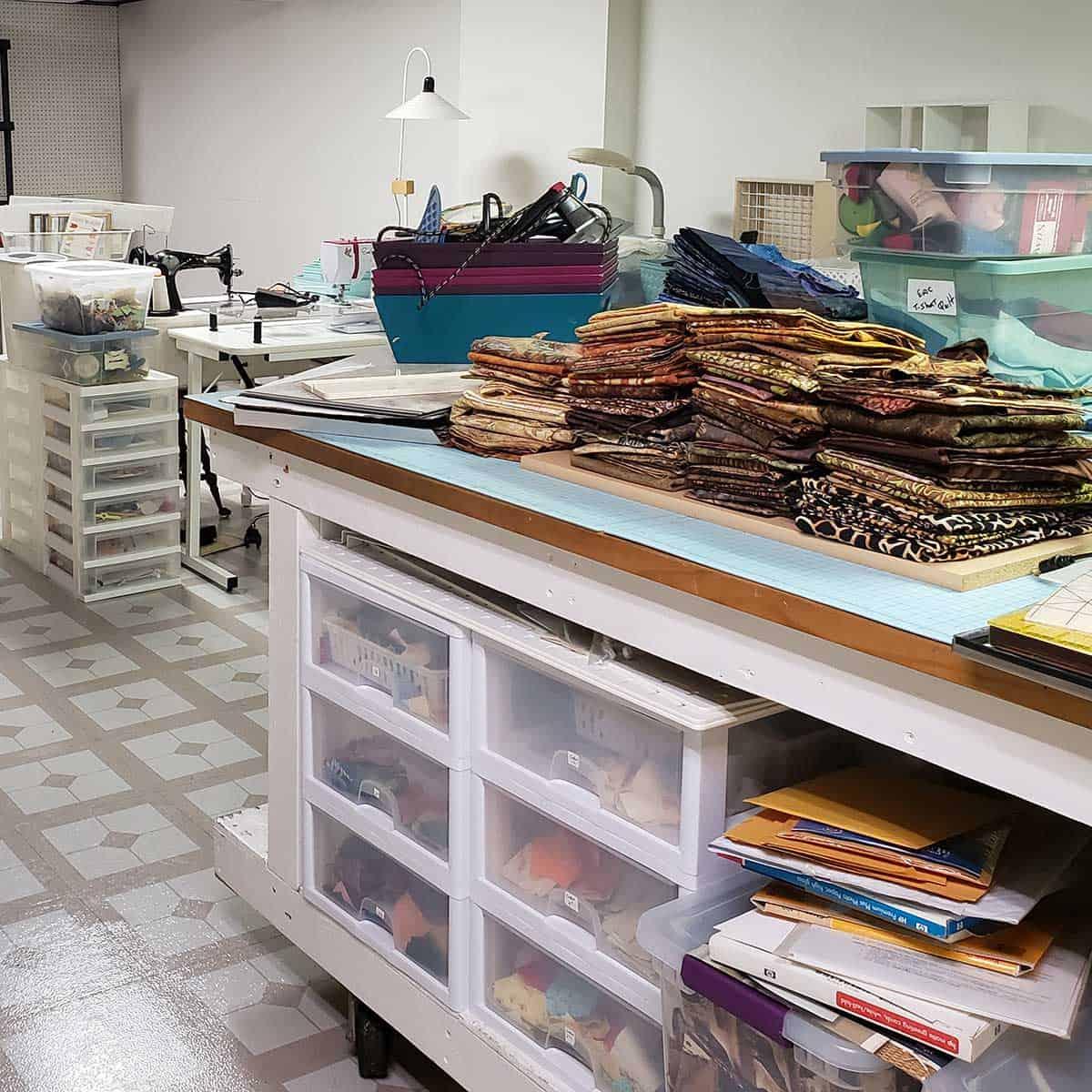Batiks on shelves