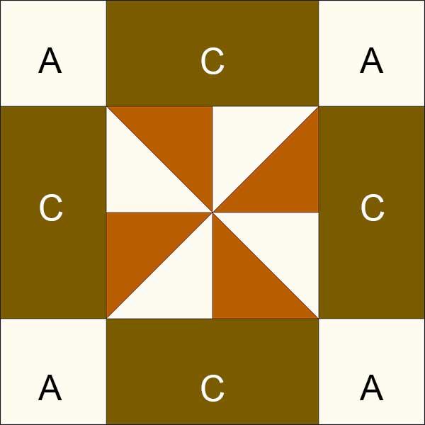 pinwheel uneven 9-patch block