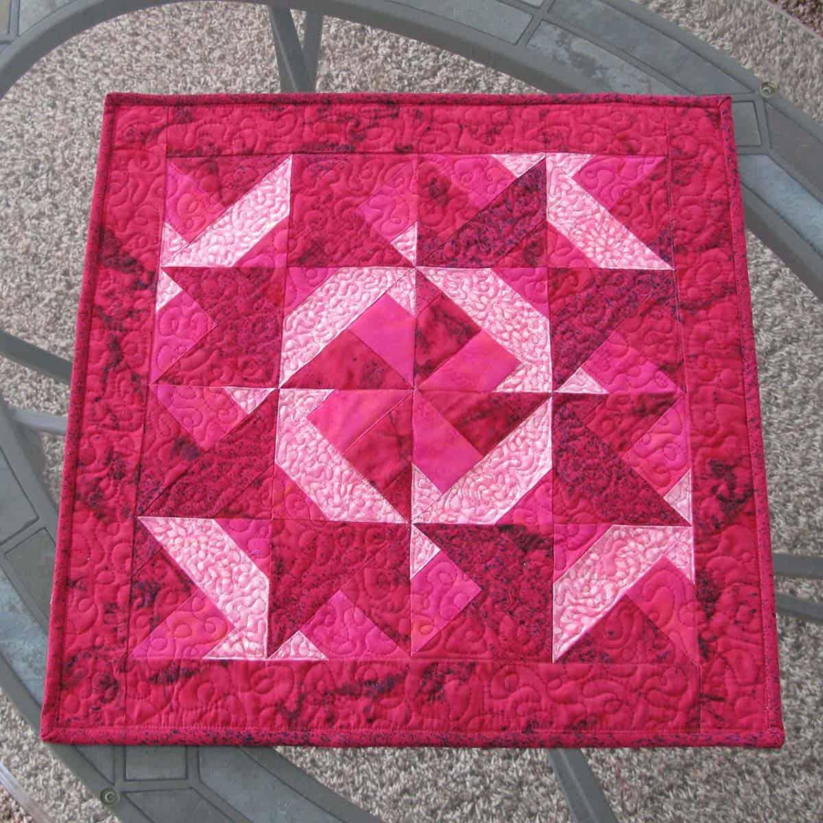 Red batik table topper tutorial