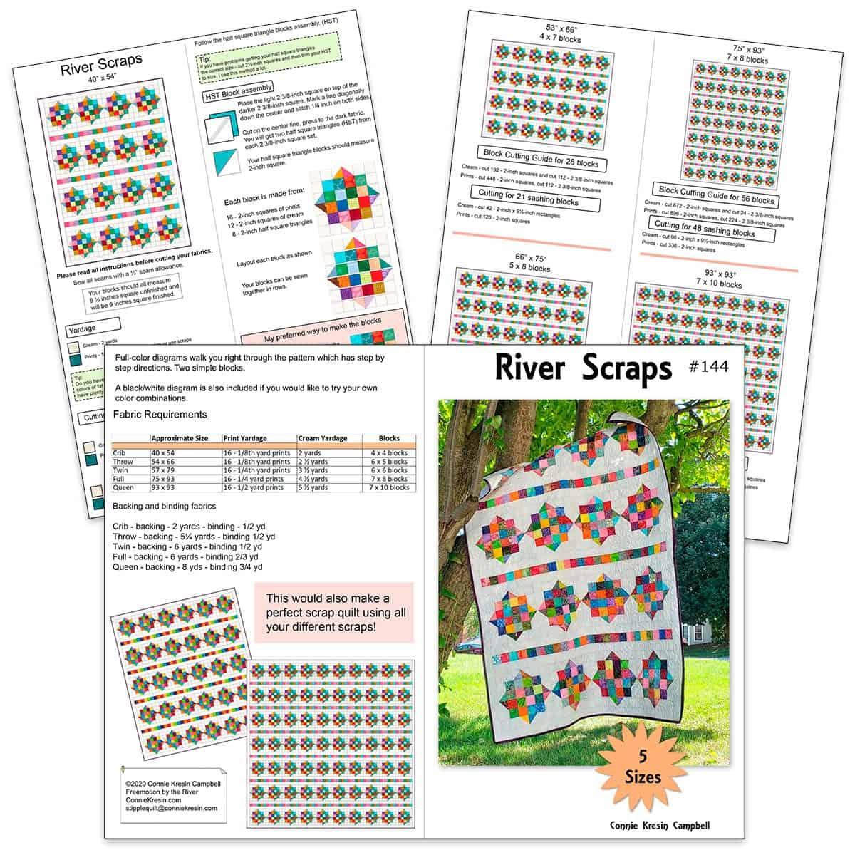 River Scraps quilt pattern diagrams
