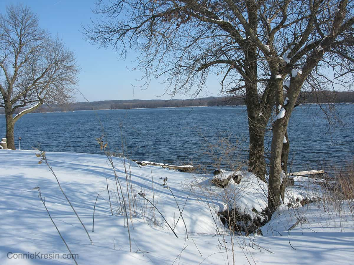 Winter along the Mississippi River in Iowa