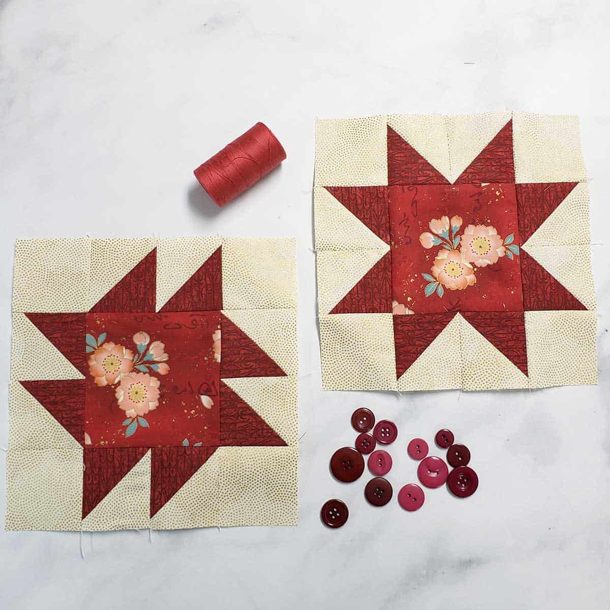 Both of the quilt blocks in red