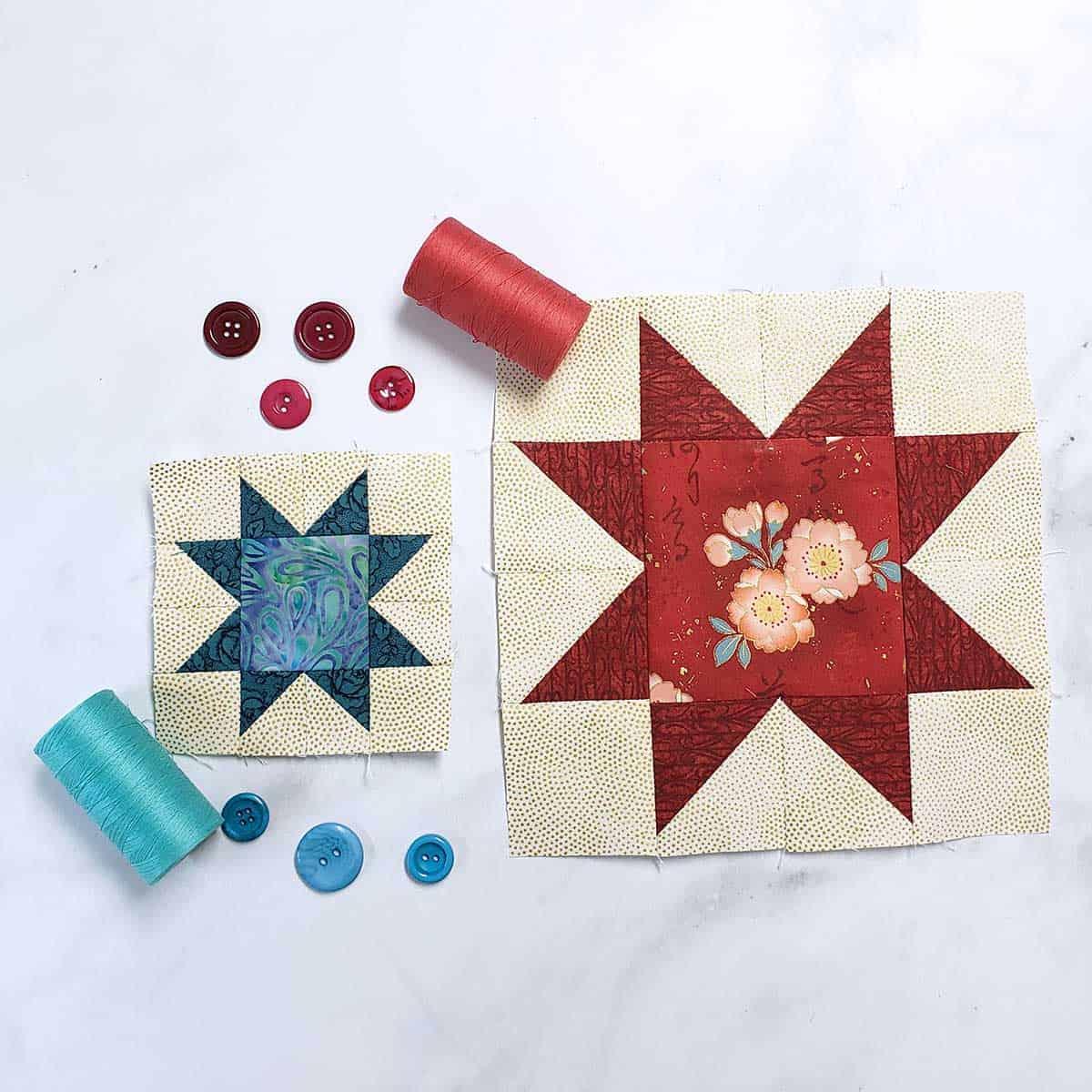 2 sizes of sawtooth star blocks