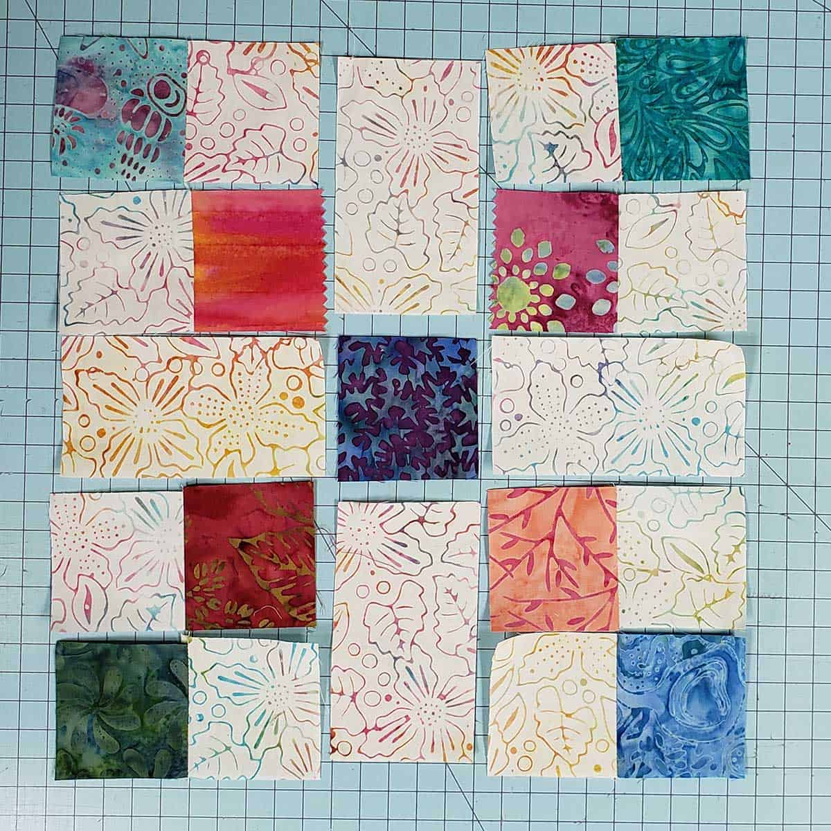 Scrappy quilt block sections