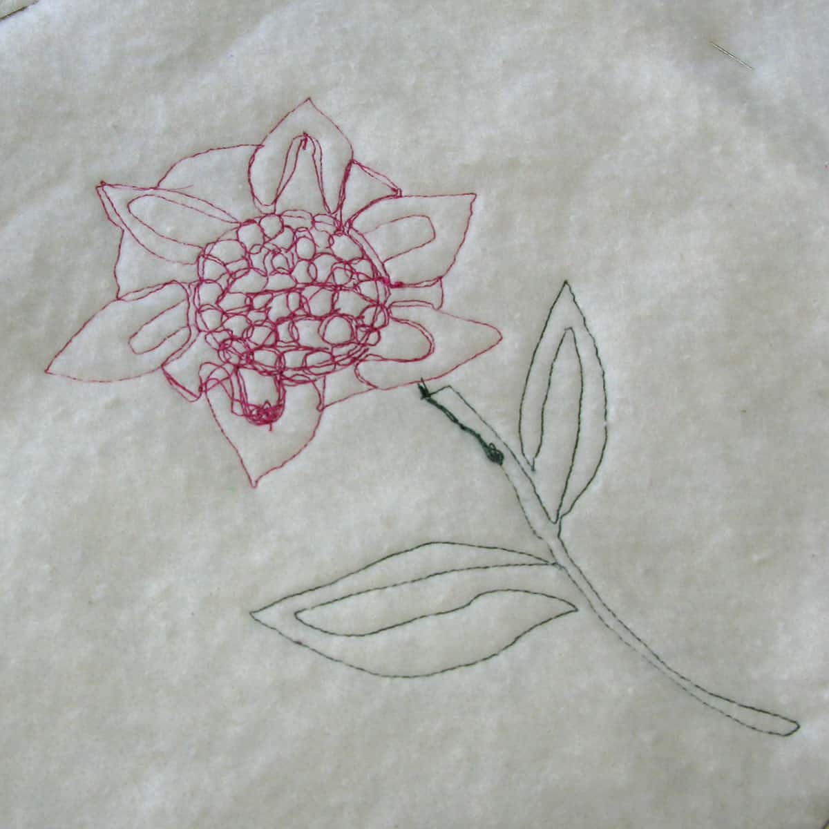 Back of the appliqued flower