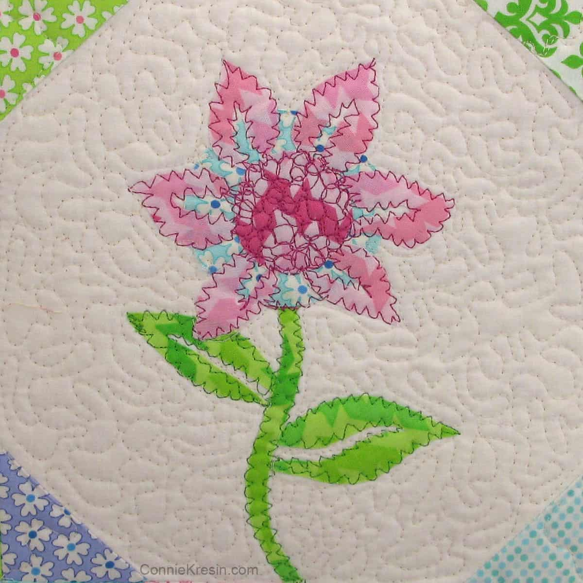 Sea Mist Flower zig zag stitching