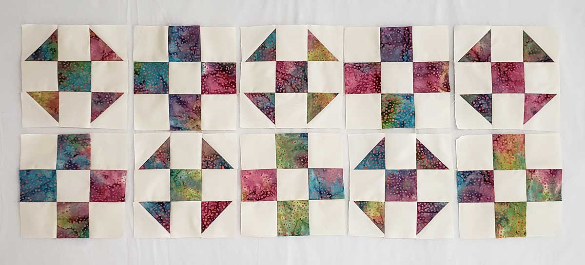 Shoo Fly and 9 Patch blocks for table runner