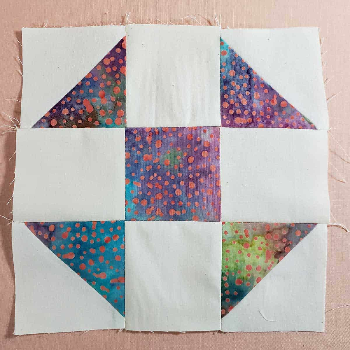 Shoo Fly quilt block finished